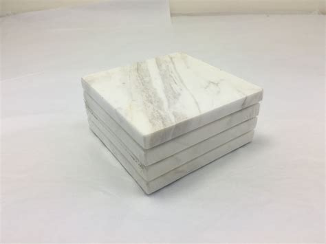 4 Piece White Marble Coaster Set