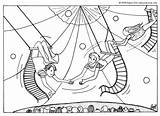 Coloring Trapeze Pages Circus Artists Acrobat Printable Template Getcolorings Hellokids sketch template
