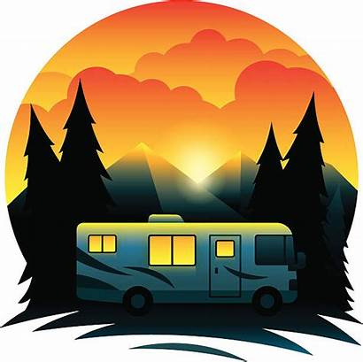 Rv Clipart Cartoon Motorhome Clip Campers Sunset
