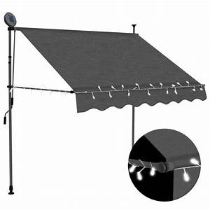 Manual Retractable Awning With Led 59 1 U0026quot  Anthracite