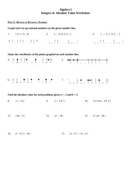 Algebra I Integers & Absolute Value Practice Worksheet By Lexie Tpt