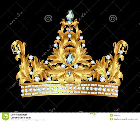 royal gold crown  jewels stock vector illustration