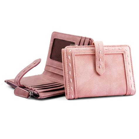 pu leather bifold purse wallet vintage with zipper