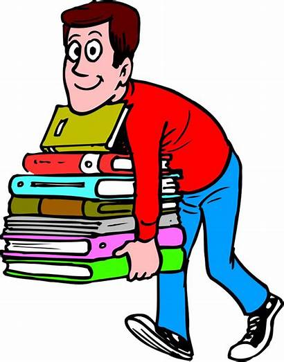 Heavy Books Librarian Male Cartoon Carrying Clipart