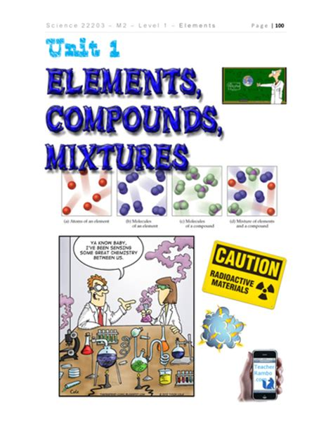 Elements Compounds And Mixtures Worksheet Answers Part 4