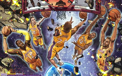 los angeles lakers starting  wallpaper posterizes nba