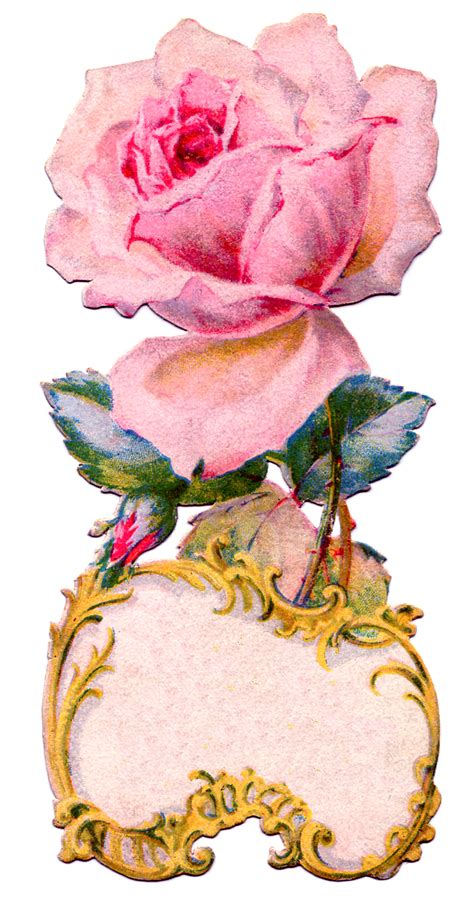 vintage graphic ornate rose tag label  graphics fairy