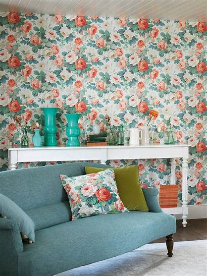 Chelsea Sanderson Coral Wallpapers Fabric Emerald Johnlewis