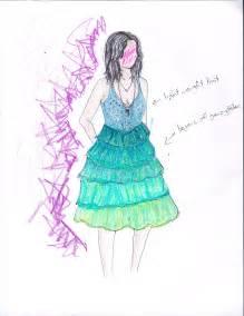 Blue Fashion Design Sketches Dresses