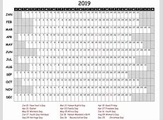 Yearly Calendar 2019 Word Doc Free Printable 2018