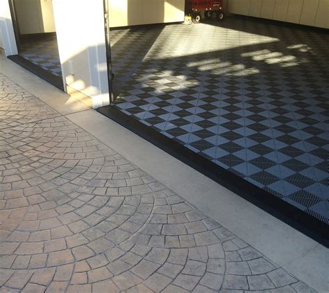 Garage with Tile Flooring & Black Diamond Plate Transition