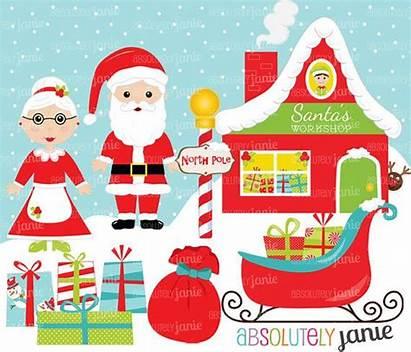Workshop Santa Claus Clipart Christmas Pole Clip
