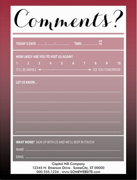restaurant guest comment card designs cardtemplates