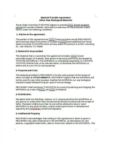 transfer agreement form samples  sample