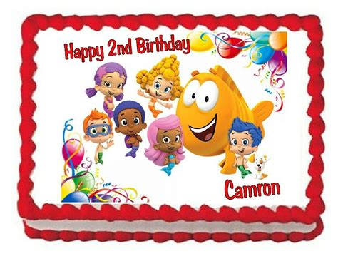 bubble guppies edible birthday cake image cake topper