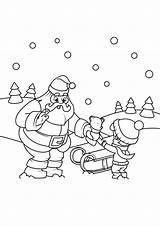 Coloring Parcel Claus Gives Santa Geeft Pakje Kerstman Kleurplaat sketch template