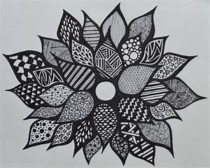 Drawn flower sharpie - Pencil and in color drawn flower ...