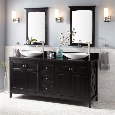 alvelo vessel double sink vanity black bathroom
