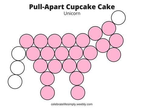 unicorn pull  cupcake cake template cupcake
