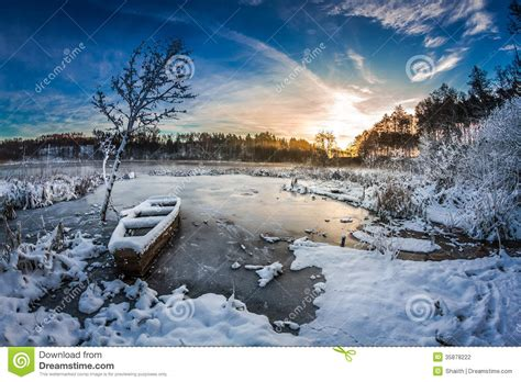First Snow At Sunrise In Winter Stock Photo Image Of