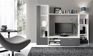 Meuble Tv Living : living clou blanc gris ~ Teatrodelosmanantiales.com Idées de Décoration