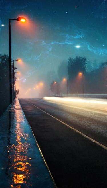beautiful roads  night time lampposts