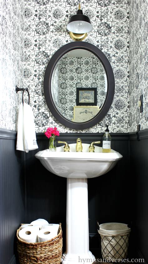 black  white tile wallpaper powder room hymns