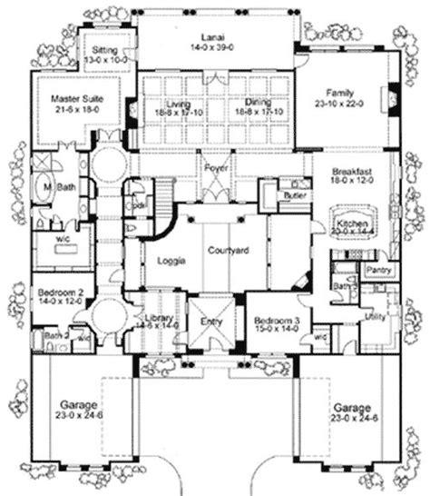 plan wg exciting courtyard mediterranean home plan