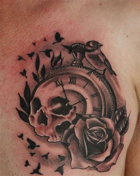 Best Grey Ink Sweet Bird Skull Clock Tattoo Chest