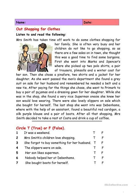 shopping  clothes reading comprehension passages