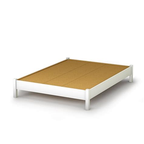 Full Size Simple Platform Bed In White Finish Modern