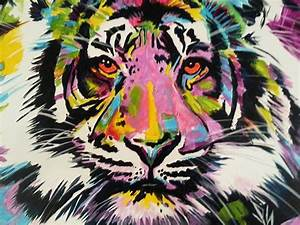 Pop Art Tiger Eyes Abstract Canvas Oil Painting Acrylic