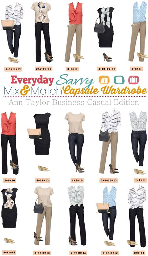 Ann Taylor Business Casual Capsule Wardrobe   Mix & Match Outfits for the Office