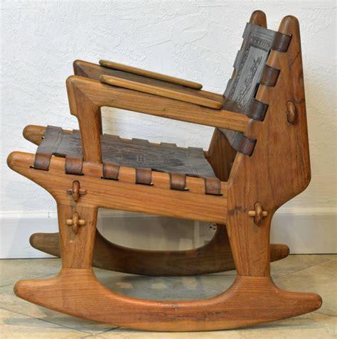 mid century modern ecuadorian wood and leather rocking