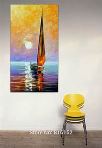 Gold sail abstract landscape painting sailboat paintings
