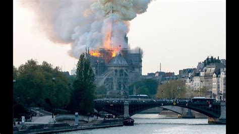 fire erupts  notre dame cathedral  paris youtube
