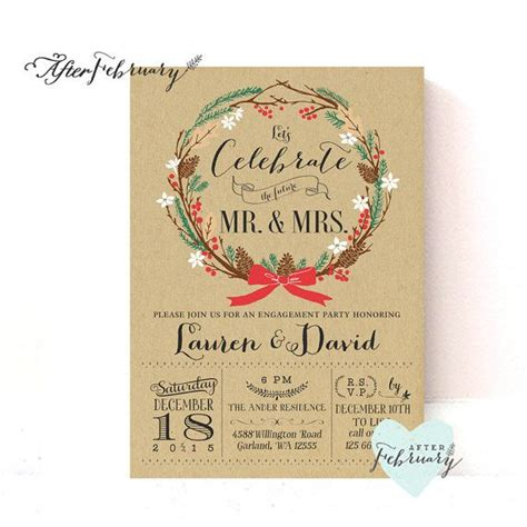 winter engagement party invitation holiday couples