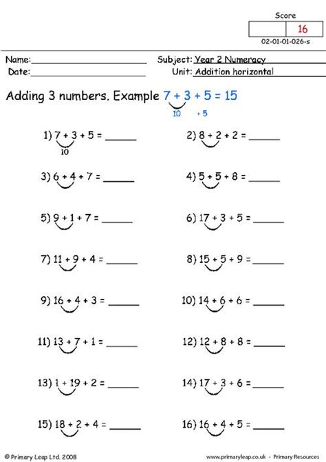 horizontal addition worksheets with pictures