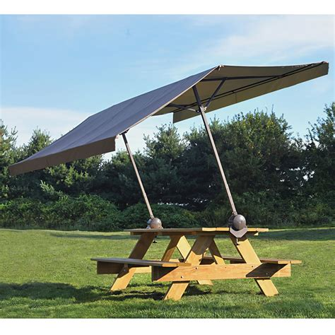 portable clamp on picnic table canopy provides 75 sq ft of