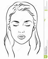 Makeup Blank Template Artist Face Eyes Closed Coloring Chart Templates Woman Pages Vector Sketch Portrait sketch template