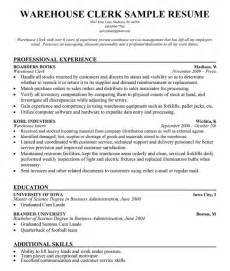 Sample Resume Warehouse Clerk