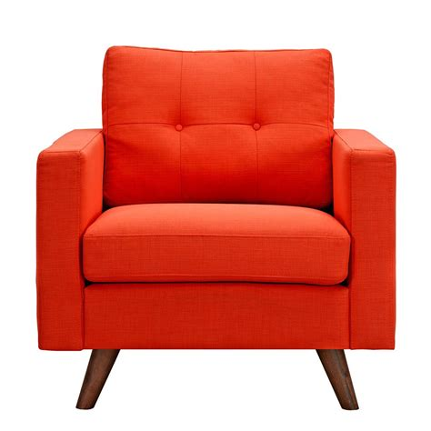 Modern Fabric Armchair by Uma Modern Orange Fabric Button Tufted Armchair W Walnut