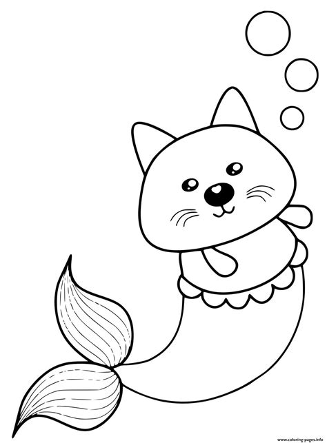 kitty mermaid cat cute coloring pages printable