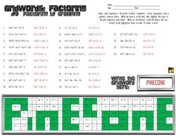 factoring polynomials gridwords  factoring