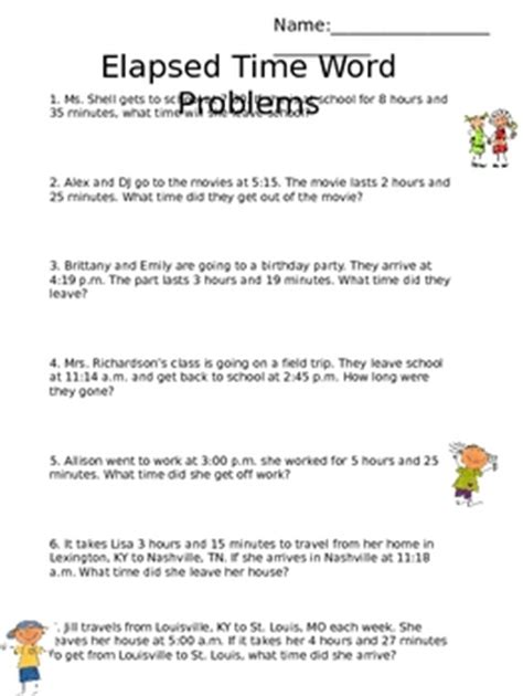 elapsed time word problems by emily shell teachers pay