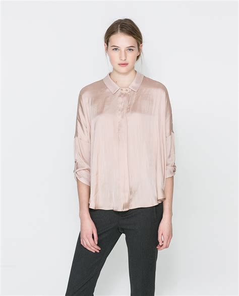 zara blouse zara flowing blouse in lyst