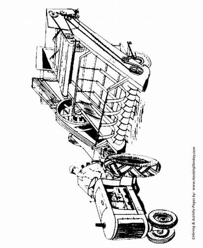 Coloring Farm Hay Pages Equipment Printable Drawing