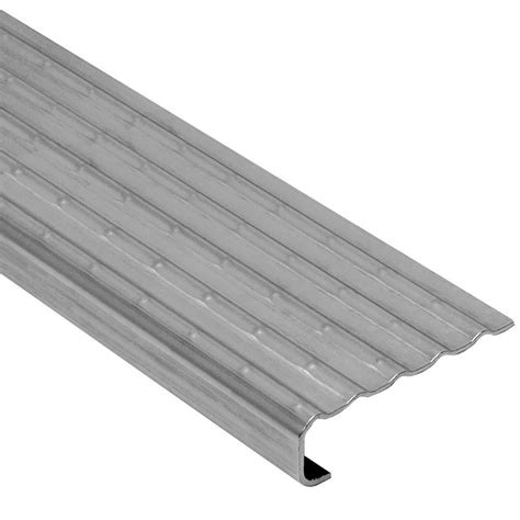 tile stair nosing trim schluter trep ek stainless steel 1 8 in x 8 ft 2 1 2 in