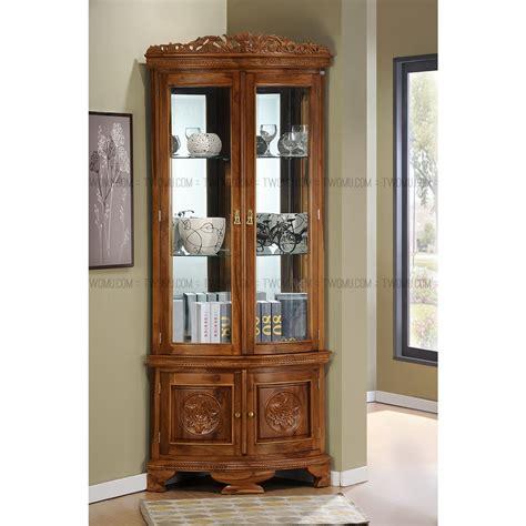corner display cabinet home living room nadja corner display teak wood cabinet