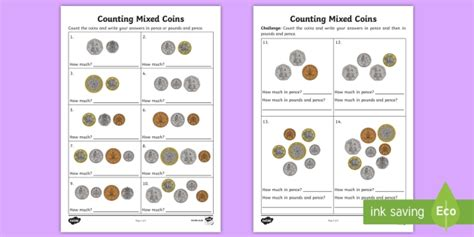 counting mixed coins worksheet activity sheet uk currency